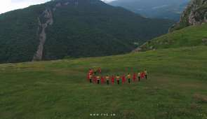 Drone Footage-Authentic Armenian traditional dance in the mountains