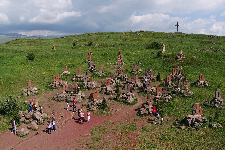 cultural tour in Armenia family trip to Armenia Armenian Alphabet Monument